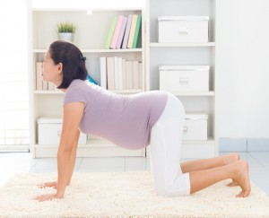 Maternity health concept. Full length healthy 8 months pregnant calm Asian woman meditating or doing yoga exercise at home. Relaxation.Yoga cat positions.